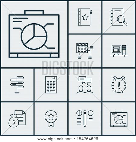 Set Of Project Management Icons On Time Management, Present Badge And Decision Making Topics. Editab