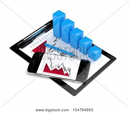 3D Rendering Of Falling Chart With Mobile Phone And Clipboard