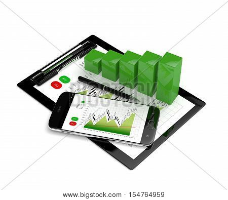 3D Rendering Of Chart Growth With Mobile Phone And Clipboard