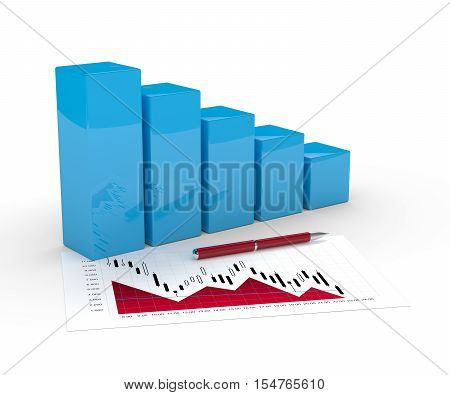 3D Rendering Of Falling Chart Over White