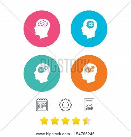 Head with brain icon. Male human think symbols. Cogwheel gears signs. Calendar, cogwheel and report linear icons. Star vote ranking. Vector
