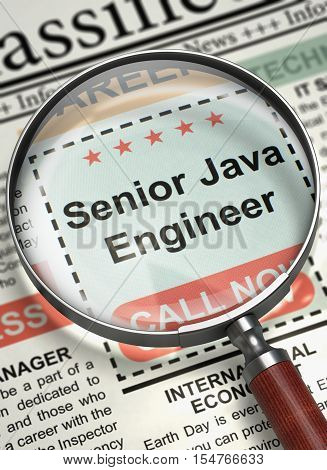 Senior Java Engineer - Small Ads of Job Search in Newspaper. Newspaper with Small Ads of Job Search Senior Java Engineer. Hiring Concept. Selective focus. 3D Render.