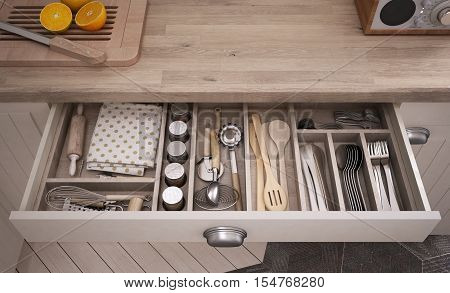 Kitchen tools in drawer, close-up, 3d illustration