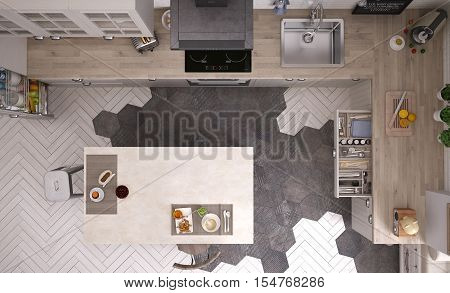 Scandinavian white kitchen, top view, 3d illustration