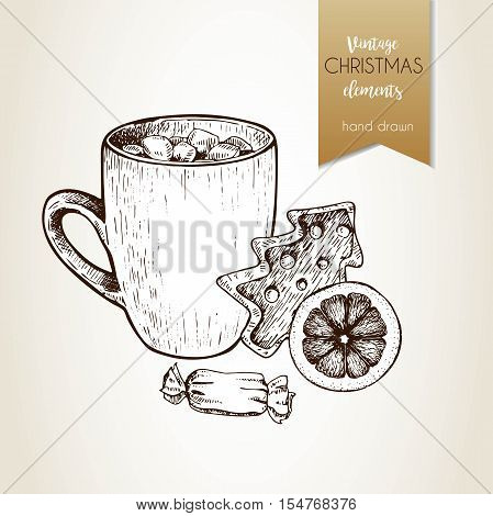 Vector hand drawn illustartion of cocoa cup gingerbread cookie orange slice and candy. Vintage engraved style. Christmas decoration. Use for seasonal greeting party decor holiday advertisement.