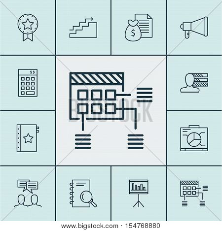 Set Of Project Management Icons On Growth, Personal Skills And Investment Topics. Editable Vector Il