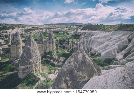 Famous Love valley in Cappadocia, Turkey, toned like Instagram filter