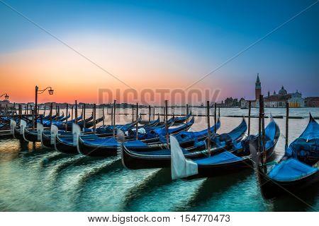Stunning sunrise in Venice in summer, Italy