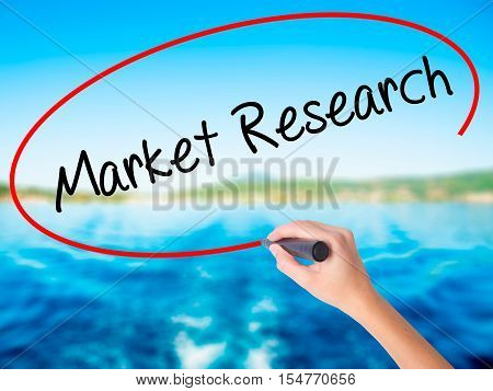 Woman Hand Writing Market Research With A Marker Over Transparent Board.