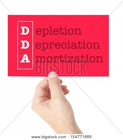 Depletion Depreciation Amortization explained on a card held by a hand