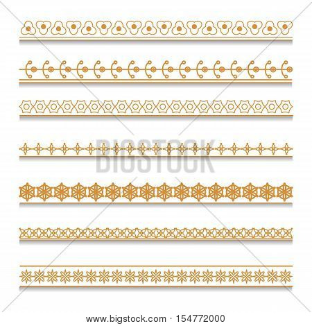 Vector set of golden decorative elements for borders and frames. Geometric pattern.