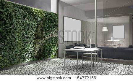 Vertical gardening, office courtyard design, 3d illustration