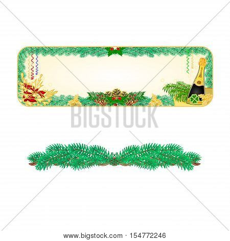 Banner square New Year midnight toast vintage background vector illustration