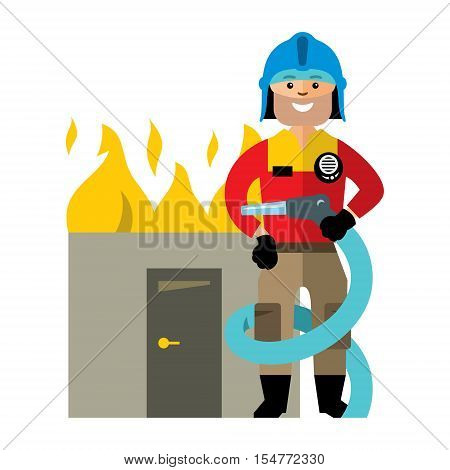 Man in uniform with a hose to extinguish a burning building. Isolated on a white background