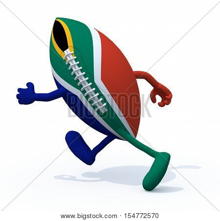 South Africa Flag On Rugby Ball With Arms And Legs That Run Away