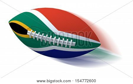 South African Flag On Rugby Ball With Motion Blur On White