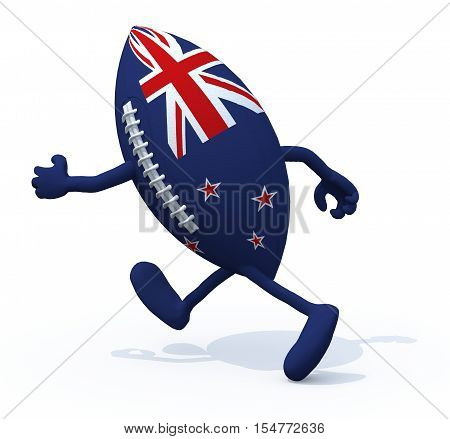 New Zealand Flag On Rugby Ball With Arms And Legs That Run Away
