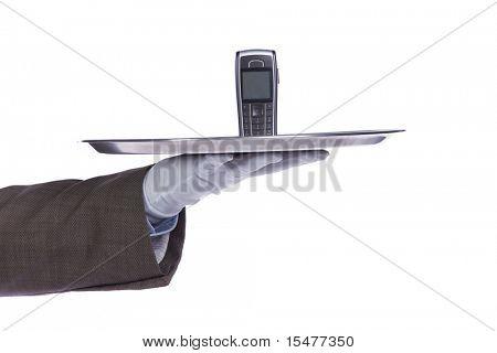 businessman showing you a communication service solution