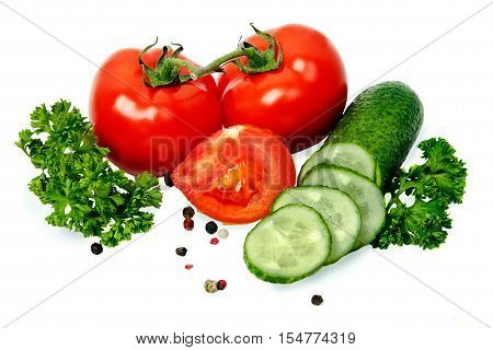 tomato and cucumber on a white background