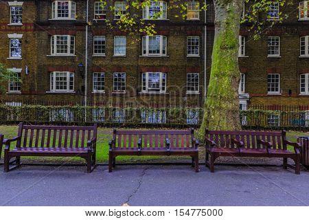 Paddington Street Gardens London Benches.