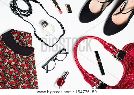 collection of women's clothing isolated white background in red and black colors, romantic, office style