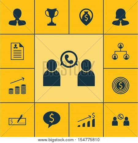 Set Of Management Icons On Phone Conference, Coins Growth And Business Deal Topics. Editable Vector