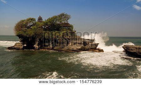 Tanah Lot temple on the rock Bali island Indonesia