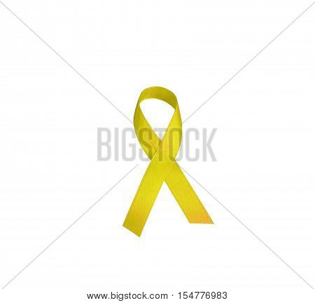 Cancer, bone sarcoma, the awareness of the yellow ribbon logo is a symbolic increase of support in the lives of people living W/ neoplastic diseases/ illness. Yellow tape isolated on white background.