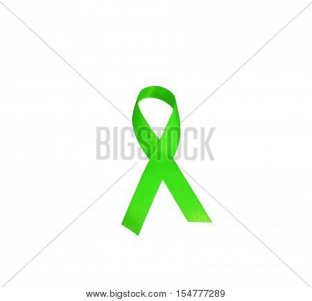 Lymphoma cancer awareness green ribbon. The symbolic logo of mobilizing support to help the lives of people living W/ tumor lymphoma .Green ribbon isolated on white background.