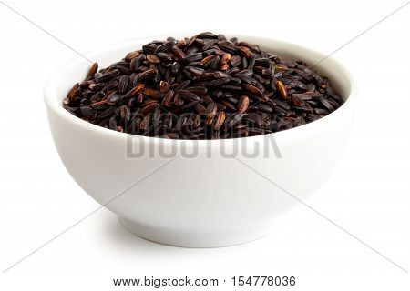 Bowl Of Nerone Black Long Grain Rice Isolated On White.