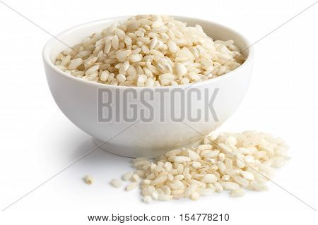 Bowl Of Arborio Short Grain White Rice Isolated On White. Spilled Rice.