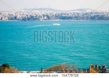 Turkey, Istanbul - January 07/2013: Tourists Visited The Coast Of The Bosporus During The Christmas