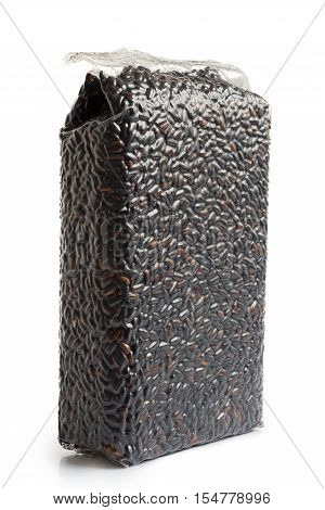 Vacuum Packed Nerone Black Long Grain Rice Isolated On White.