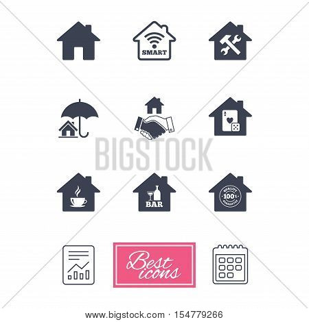Real estate icons. House insurance, broker and casino with bar signs. Handshake deal, coffee and smart house symbols. Report document, calendar icons. Vector