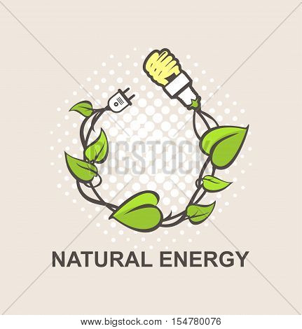 Green energy symbol vector wreath woven in the plant connection to power energy-saving lamp