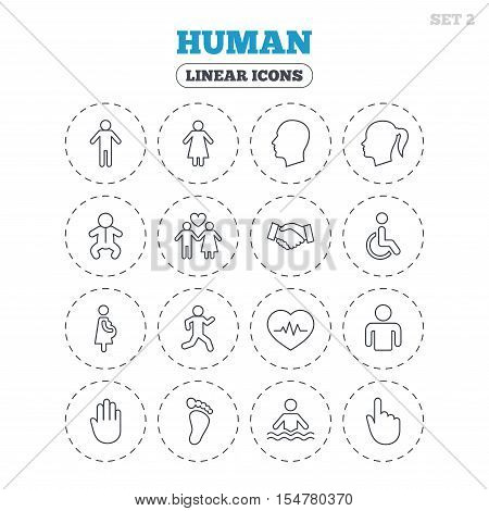 Human icons. Male and female symbols. Infant toddler and pregnant woman. Wheelchair for disabled. Success deal handshake. Round flat buttons with linear icons. Vector