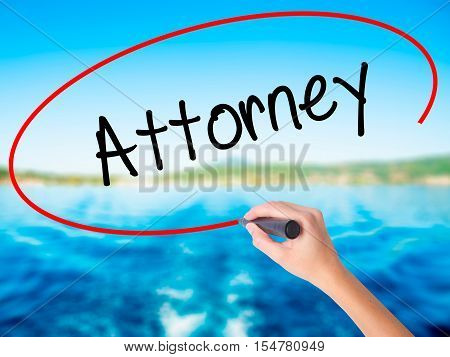 Woman Hand Writing Attorney  With A Marker Over Transparent Board