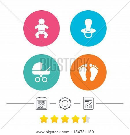 Baby infants icons. Toddler boy with diapers symbol. Buggy and dummy signs. Child pacifier and pram stroller. Child footprint step sign. Calendar, cogwheel and report linear icons. Star vote ranking