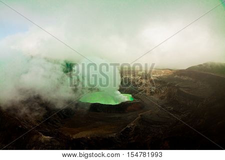 National Park Volcano Poas in Costa Rica during a dusty wheather