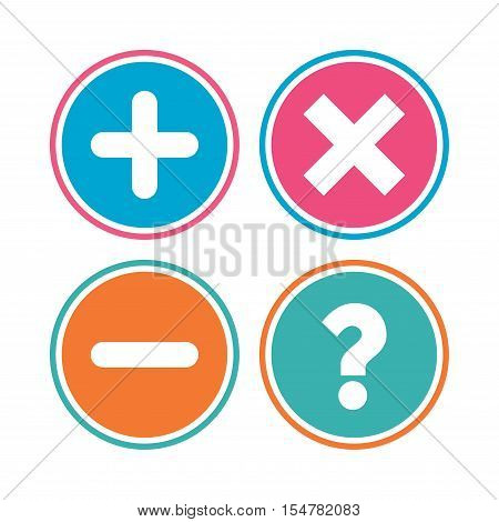 Plus and minus icons. Delete and question FAQ mark signs. Enlarge zoom symbol. Colored circle buttons. Vector