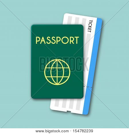 Passport And Tickets Top View Isolated Vector Illustration. Material Flat Design Of Travel Documents