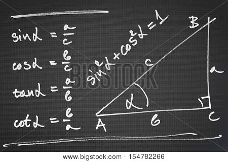 Sketch of a right triangle and definition of the basic trigonometric functions