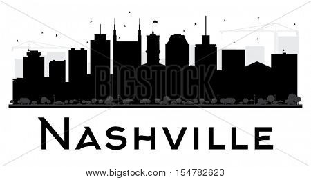 Nashville City skyline black and white silhouette. Simple flat concept for tourism presentation, banner, placard or web site. Business travel concept. Cityscape with landmarks