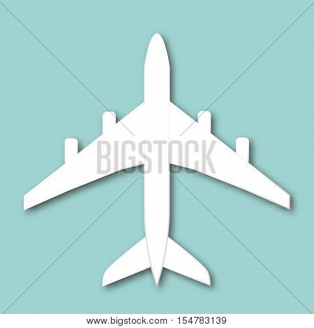 Airplane Isolated Vector Illustration. White Plane In Flat Style Top View.