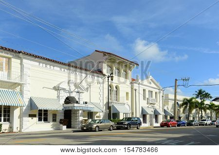 PALM BEACH, FL, USA - JAN 2, 2015: First National Bank on South County Road in Palm Beach, Florida, USA.