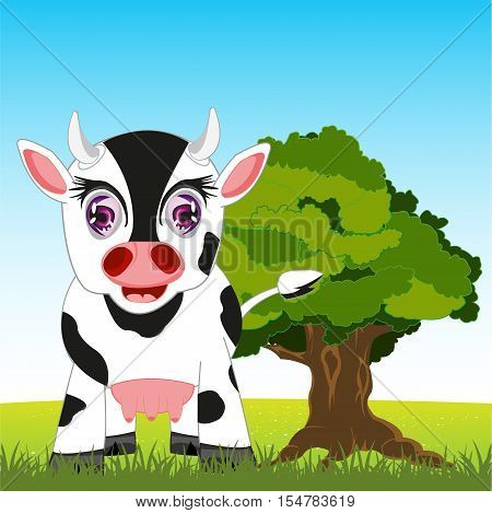 Pets animal cow on year glade.Vector illustration