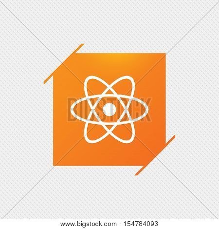 Atom sign icon. Atom part symbol. Orange square label on pattern. Vector
