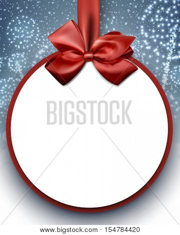 Christmas round background with satin bow and snow. Vector illustration.