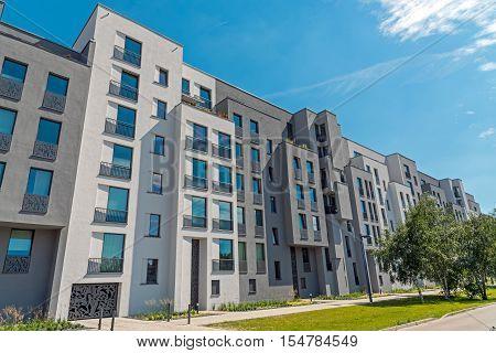 Modern block of flats seen in Berlin, Germany