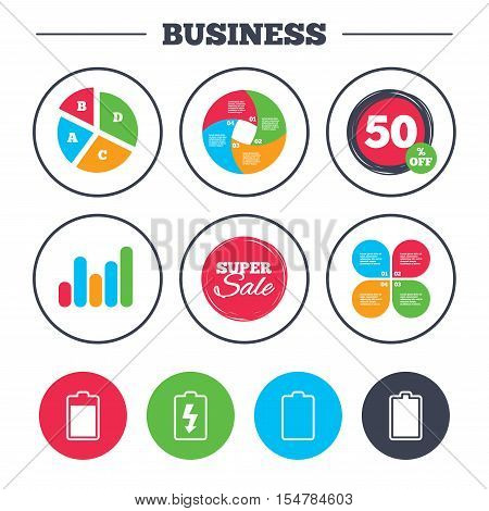 Business pie chart. Growth graph. Battery charging icons. Electricity signs symbols. Charge levels: full, empty. Super sale and discount buttons. Vector